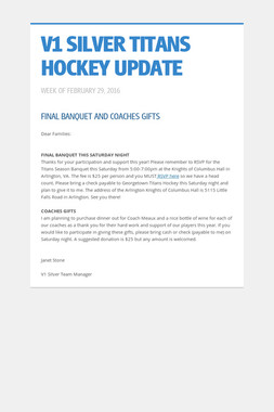 V1 SILVER TITANS HOCKEY UPDATE