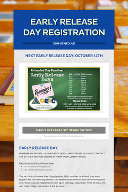 EARLY RELEASE DAY REGISTRATION