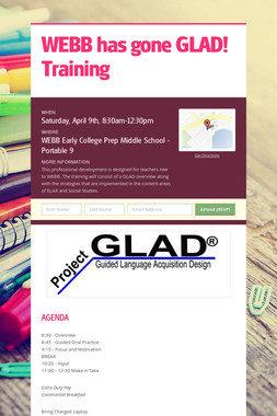 WEBB  has  gone GLAD!   Training