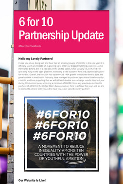 6 for 10 Partnership Update