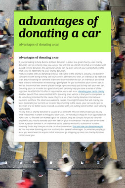 advantages of donating a car