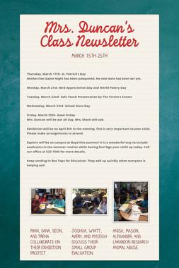 Mrs. Duncan's Class Newsletter