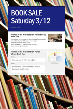 BOOK SALE  Saturday 3/12
