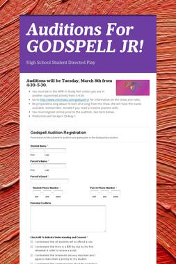 Auditions For GODSPELL JR!
