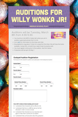 Auditions For Willy Wonka JR!