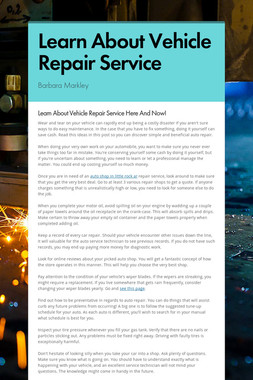 Learn About Vehicle Repair Service