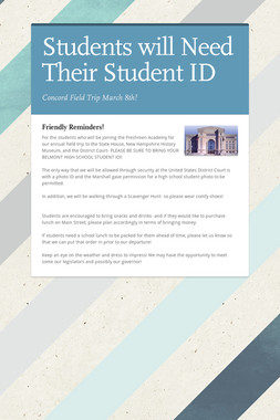 Students will Need Their Student ID