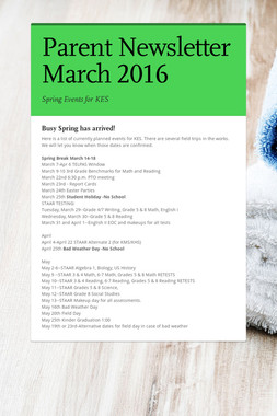 Parent Newsletter March 2016