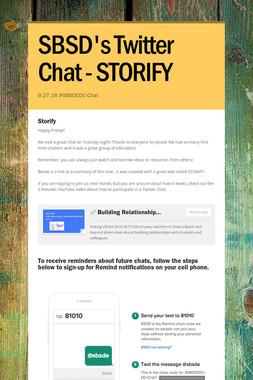 SBSD's Twitter Chat - STORIFY