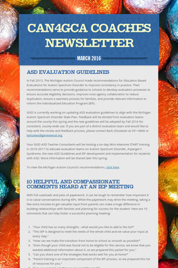 CAN4GCA Coaches Newsletter