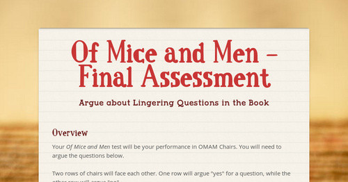 Of Mice And Men Final Assessment Smore Newsletters