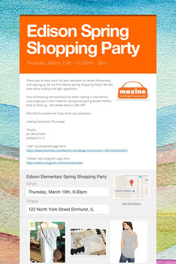 Edison Spring Shopping Party
