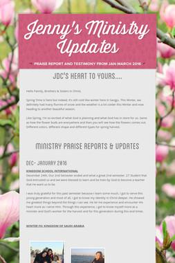 Jenny's Ministry Updates