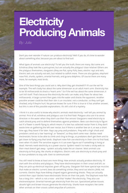 Electricity Producing Animals