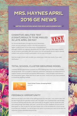Mrs. Haynes April 2016 GE News