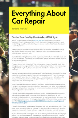 Everything About Car Repair