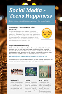 Social Media > Teens Happiness