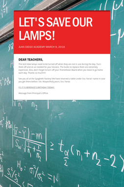 LET'S SAVE OUR LAMPS!