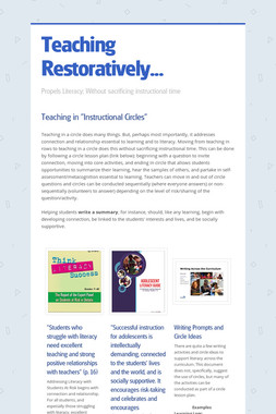 Teaching Restoratively...