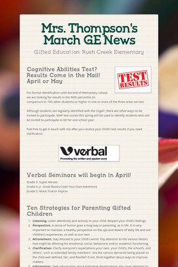 Mrs. Thompson's  March GE News
