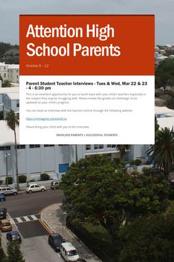 Attention High School Parents