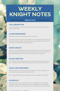 Weekly Knight Notes