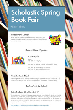 Scholastic Spring Book Fair