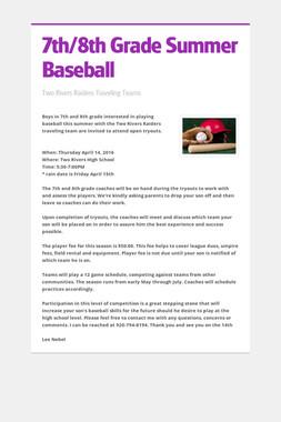 7th/8th Grade Summer Baseball