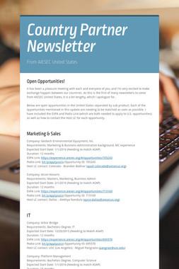 Country Partner Newsletter