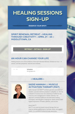 Healing Sessions Sign-up