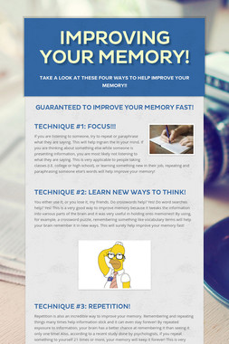 Improving Your Memory!
