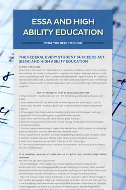 ESSA and High Ability Education