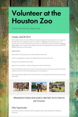 Volunteer at the Houston Zoo
