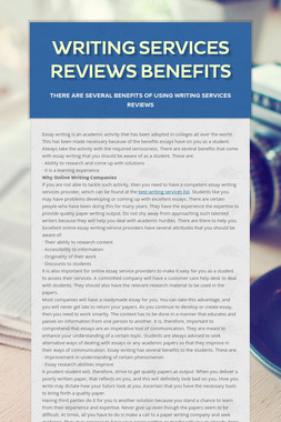 Writing Services Reviews Benefits