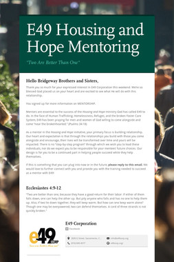 E49 Housing and Hope Mentoring