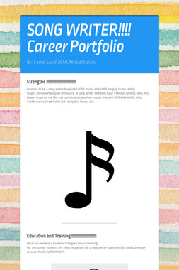 SONG WRITER!!!!   Career Portfolio
