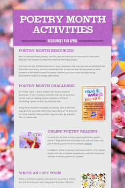 Poetry Month Activities