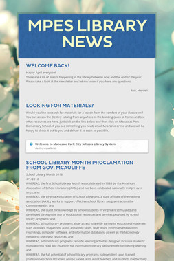 MPES Library News