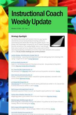 Instructional Coach Weekly Update