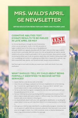 Mrs. Wald's April GE Newsletter
