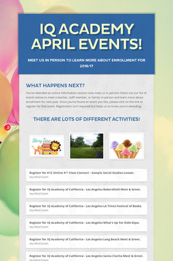 iQ Academy April Events!