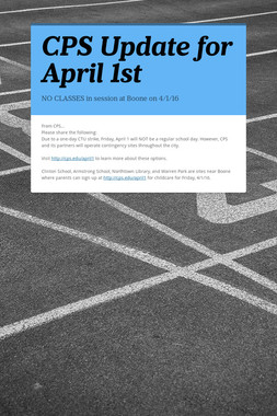 CPS Update for April 1st
