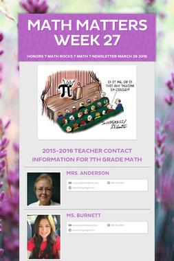 Math Matters Week 27