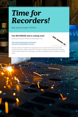 Time for Recorders!