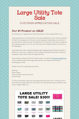 Large Utility Tote Sale