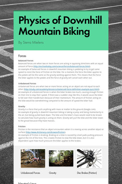 Physics of Downhill Mountain Biking
