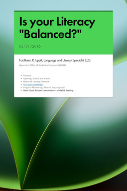 "Is your Literacy ""Balanced?"""