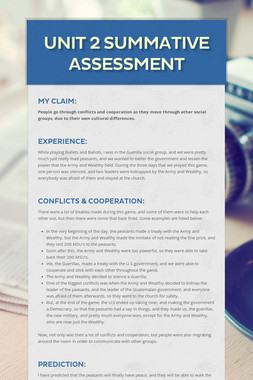 Unit 2 Summative Assessment