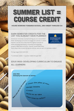 Summer List = Course Credit