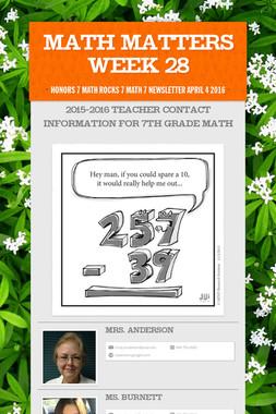 Math Matters Week 28